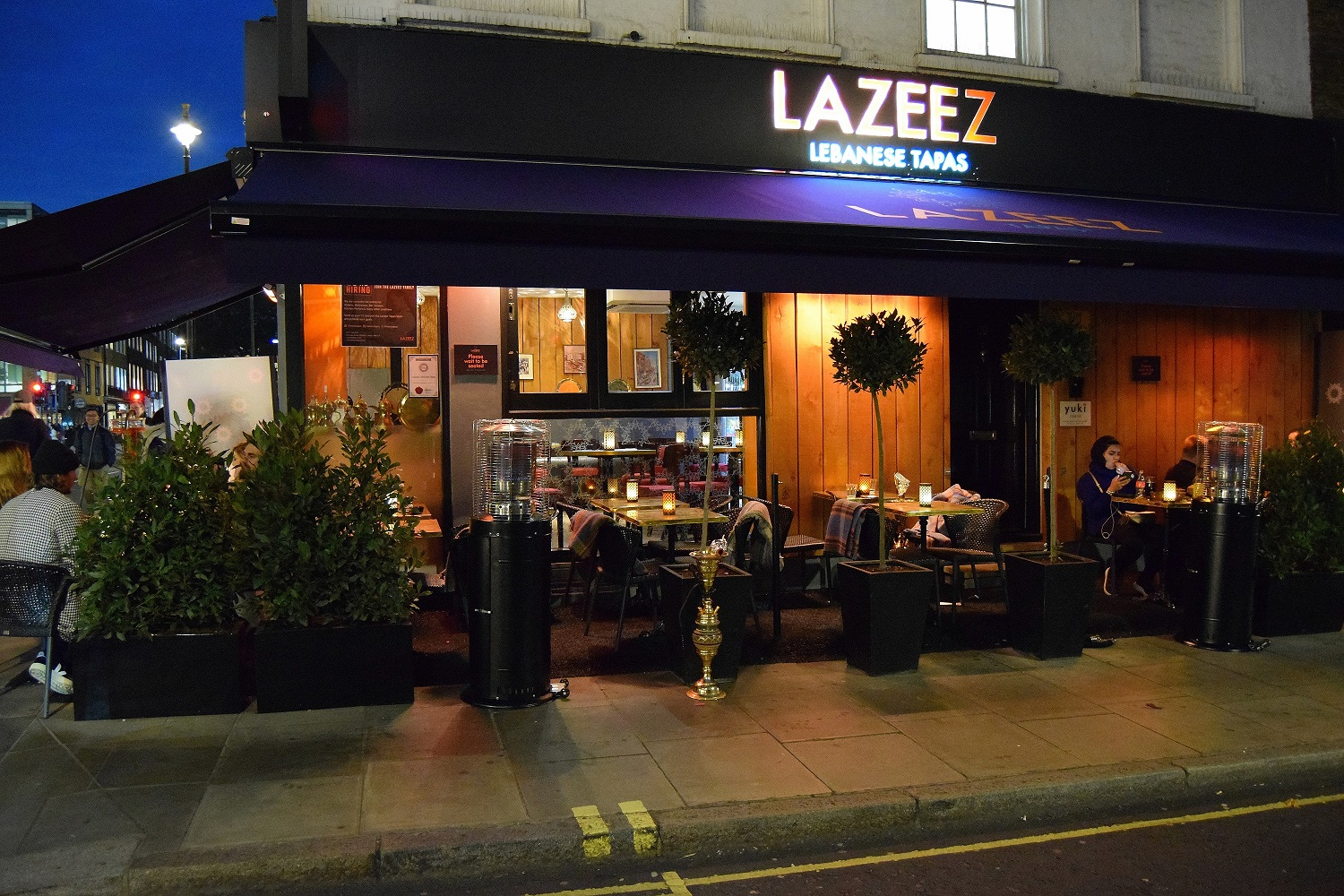 Lazeez Tapas Winter Terrace at night